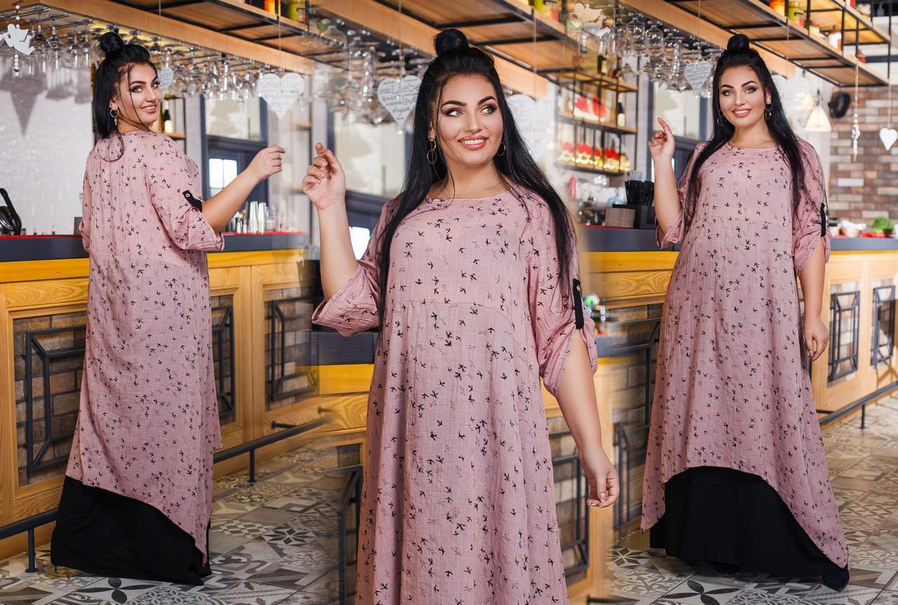 """Элегантное длинное женское платье в больших размерах 1373 """"Батист Птички Комби Контраст"""" в расцветках"""
