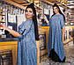 """Элегантное длинное женское платье в больших размерах 1373 """"Батист Птички Комби Контраст"""" в расцветках, фото 2"""