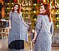 """Элегантное длинное женское платье в больших размерах 1373 """"Батист Птички Комби Контраст"""" в расцветках, фото 4"""