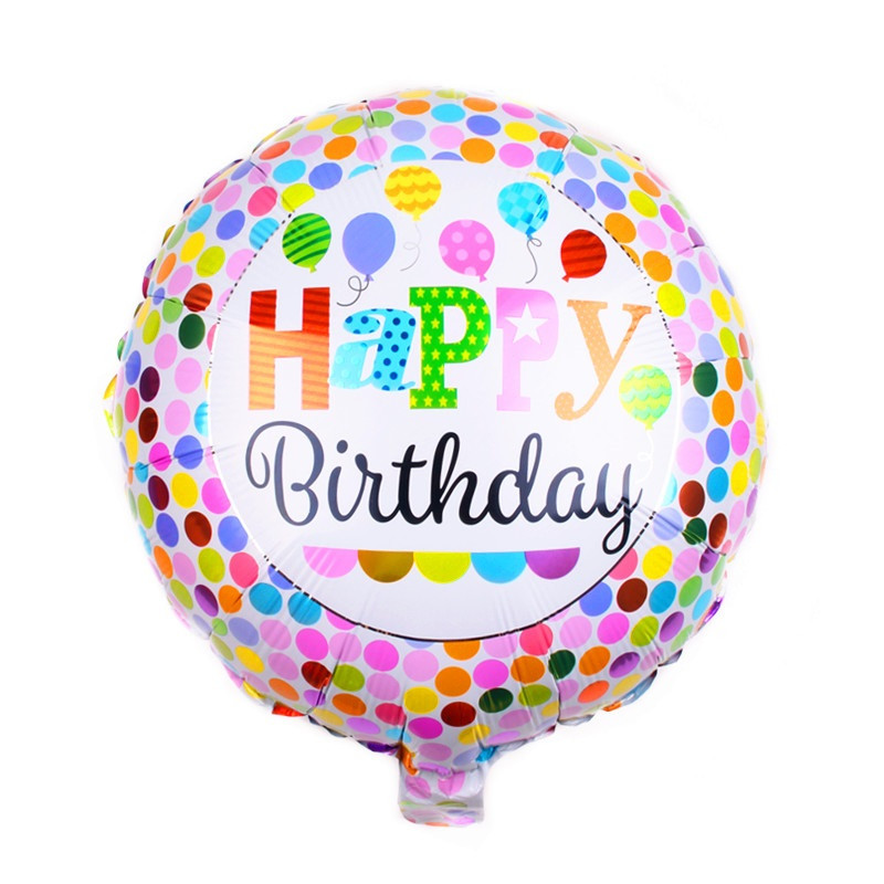 Фольгированный круглый шар, HAPPY BIRTHDAY 09 - 44 см (18 дюймов)