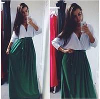 Платье женское в пол, ткань масло , расцветка юбка зеленая и красная, длина 165 см  АА №487