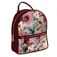 Рюкзак 3D міський бордо Рожеві троянди (бордовый рюкзак Розовые розы)
