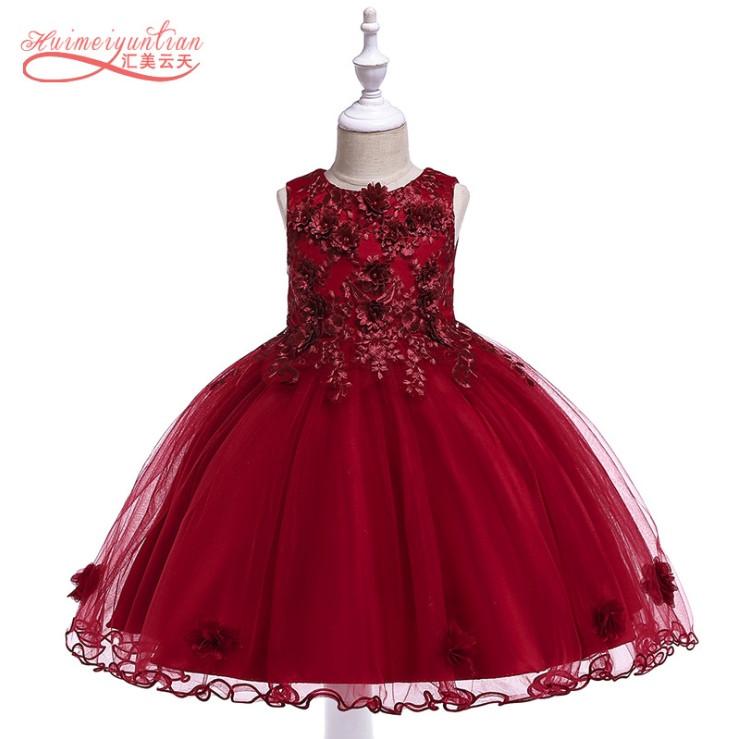 Нарядное детское платье на девочку красное с цветами   4-8 лет