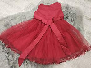 Нарядное детское платье на девочку красное с цветами   4-8 лет, фото 2
