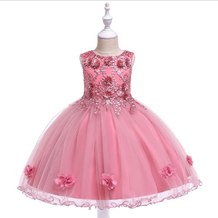 6e3cdf1f877 Нарядное детское платье на девочку розовое с цветами 4-8 лет - AdelinaStyle  Интернет-
