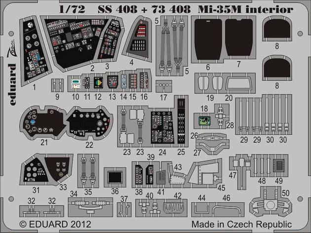 Цветные фототравленные детали интерьера для модели вертолета Ми-35М (ZVEZDA) 1/72 EDUARD SS408, фото 2