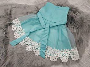 Нарядное детское платье на девочку голубое с цветами  9 мес.-2 года, фото 2