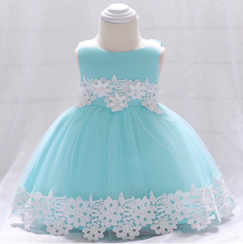 Нарядное детское платье на девочку голубое с цветами  9 мес.-2 года