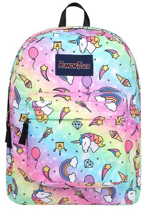 Рюкзак для девочки с единорогами розовый и серый.