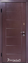 Двери уличные, серия Люкс+Кале, крашенный МДФ (RAL8019), модель Токио, коробка 100 мм, полотно 76 мм