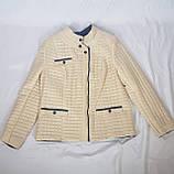 Стьобана куртка демісезонна бежева великі розміри, фото 2