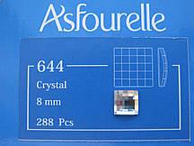 Клейові стрази Asfour Квадрат 8мм. Crystal