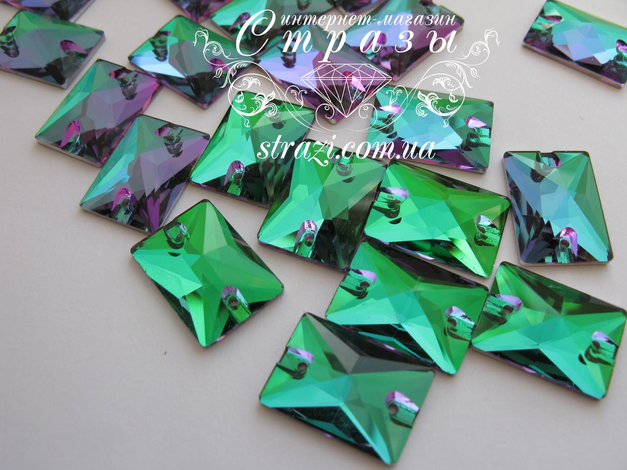 Стразы пришивные Lux Прямоугольник 13*18мм. Emerald