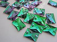 Стразы пришивные Lux Прямоугольник 13*18мм. Emerald, фото 1
