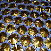 Стразы пришивные Круги 14мм. Gold Эконом