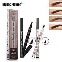 Стойкий Карандаш - маркер для глаз и бровей с эффектом тату и микроблейдинга Music Flowers