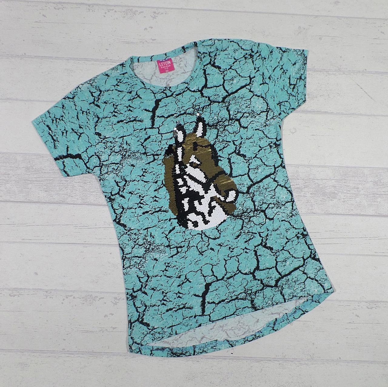 Детская футболка для девочек 8,9,10,11,12 лет (пайетка перевертыш) Лошадь голубой