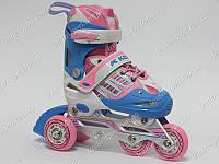 Детские трехколесные ролики Kepai F1-V1 р-р30-33 розовые