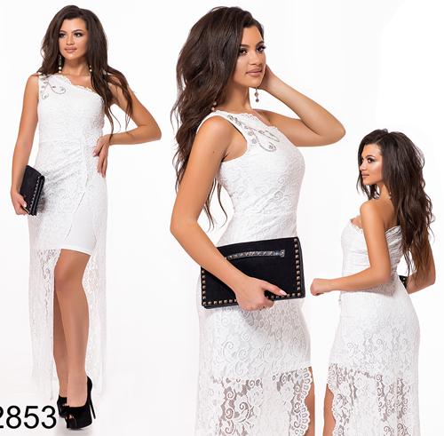 Выпускное платье из гипюра на одно плечо (белый) 828531