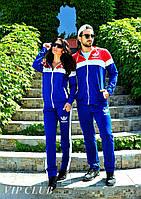 Парные спортивные костюмы мужской  и женский  ADIDAS : электрик+ красный. Цена за один костюм