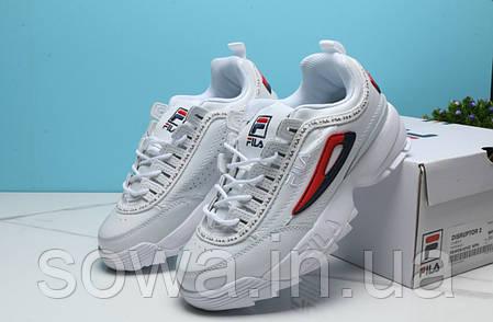 "✔️ Кроссовки Fila Disruptor 2 ""White/Red/Black""  , фото 2"