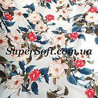 Ткань супер софт принт цветы на светло-голубом