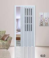 Дверь гармошка со стеклом. Цвет: берёза №610 2030мм/860мм/10мм