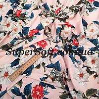 Ткань супер софт принт цветы на розовом