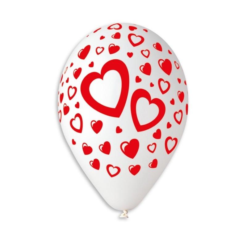 """Gemar 12"""" Подвійні серця, білий колір , 1 шт"""
