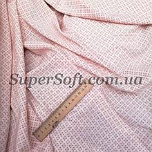 Ткань супер софт с мелким принтом на персиковом