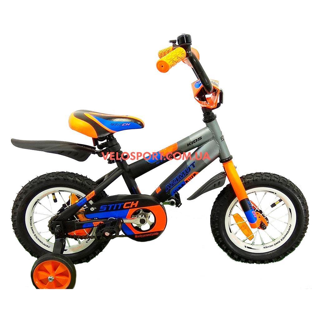 Детский велосипед Azimut Stitch 12 дюймов серый
