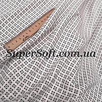 Ткань супер софт с мелким принтом на белом