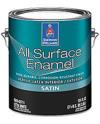 Эмаль All Surface Enamel Satin Sherwin-Williams экстра белая полуматовая, 3,66л (ол сурфейс шервин вильямс)