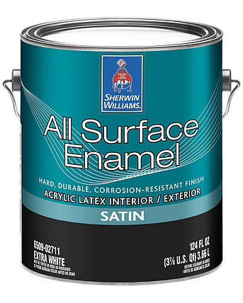 Эмаль All Surface Enamel Satin Sherwin-Williams экстра белая полуматовая, 3,66л (ол сурфейс шервин вильямс), фото 2