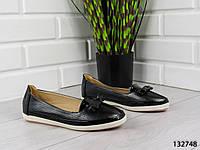"""Балетки, лоферы, черные """"Kasini"""" эко кожа, летняя, повседневная, удобная женская обувь"""