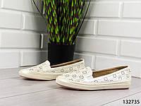 """Балетки, лоферы, белые """"Kasini"""" эко кожа, летняя, повседневная, удобная женская обувь"""