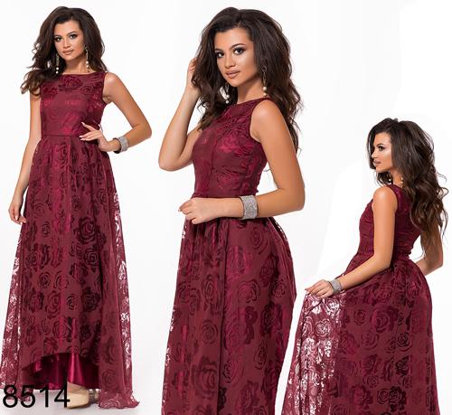 Выпускное платье в пол с напылением (бордовый) 828514