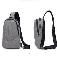 Сумка рюкзак слинг Crossbody мессенджер через плечо водонепроницаемая USB адаптер рефлективный Цвет Серый