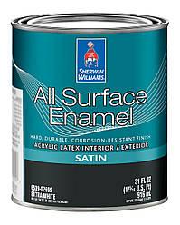 Эмаль All Surface Enamel Satin Sherwin-Williams экстра белая полуматовая, 0,916л (ол сурфейс шервин вильямс)