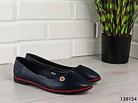 """Балетки женские, туфли женские синие """"Ribon"""" эко кожа, легкая, повседневная, удобная женская обувь"""