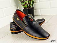 """Мокасины мужские, черные """"Deff"""" эко кожа, туфли мужские, повседневная, удобная, весенняя, мужская обувь"""