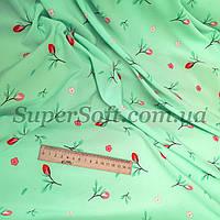 Ткань супер софт принт мелкий цветочек на мятном