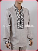 Льняная мужская вышиванка «Кубик бежевый», фото 1