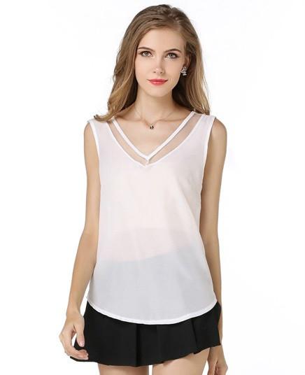 Блузка без рукавов летняя шифоновая майка с прозрачными вставками
