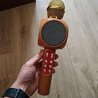 Микрофон караоке беспроводной Wster WS-1816 портативный блютуз+колонка бежевый, фото 1