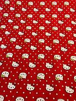 """Ткань красный штапель """"Hello Kitty"""", фото 1"""