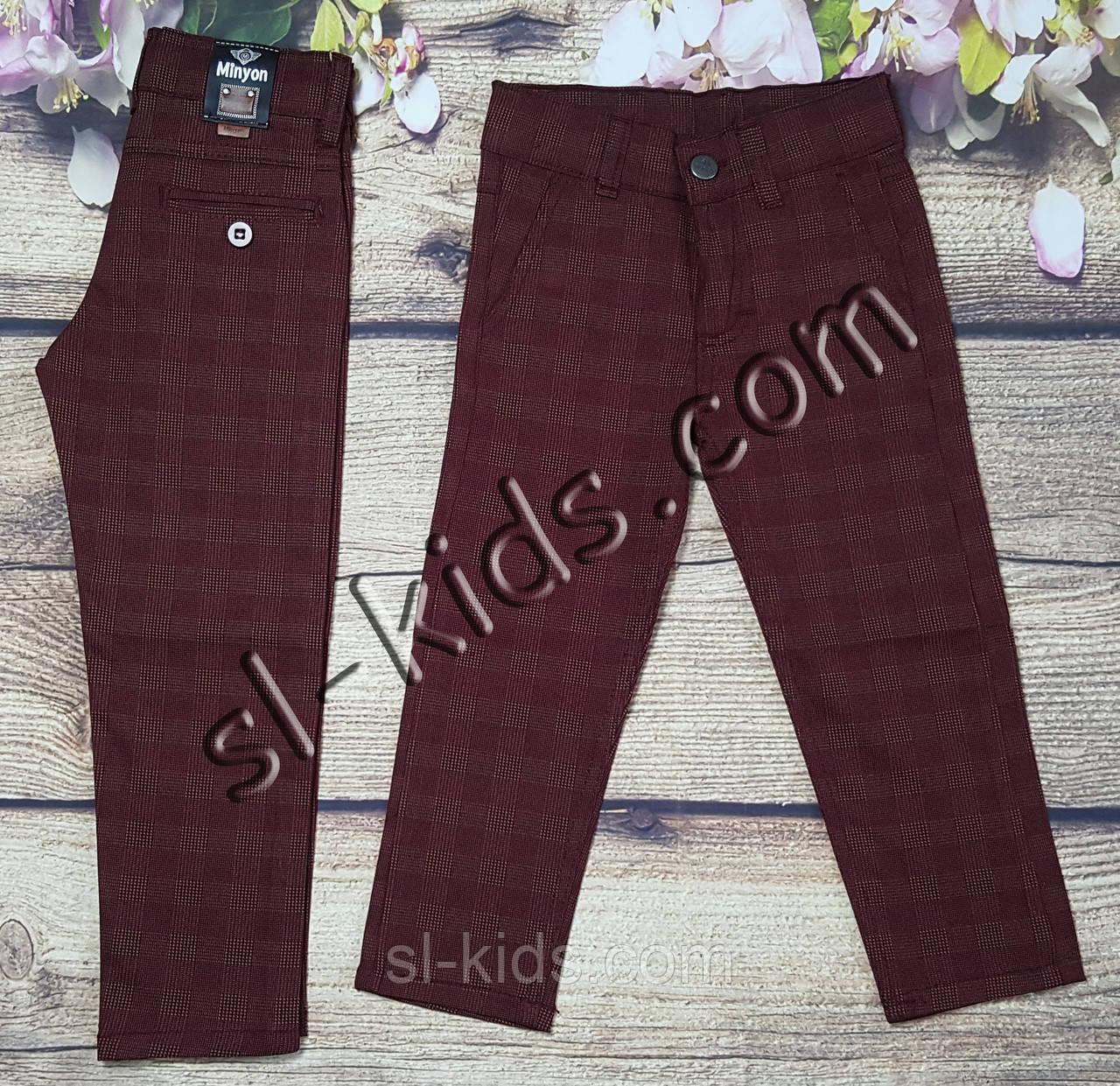 Яркие штаны,джинсы в клетку для мальчика 3-7 лет(бордо) розн пр.Турция