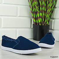 """Мокасины женские, синие """"Dally"""" текстильные, кроссовки женские, кеды женские, повседневная обувь"""