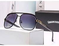 Солнцезащитные очки в стиле Chrome Hearts (3016) gold, фото 1