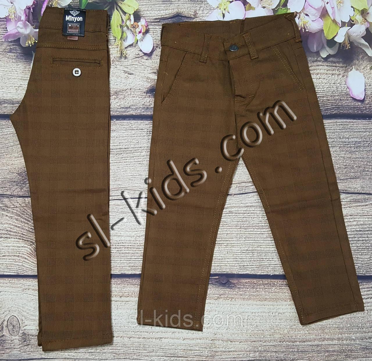 Яркие штаны,джинсы в клетку для мальчика 8-12 лет(коричневые) розн пр.Турция